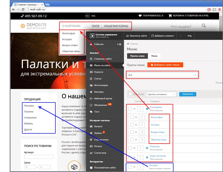 Модуль меню