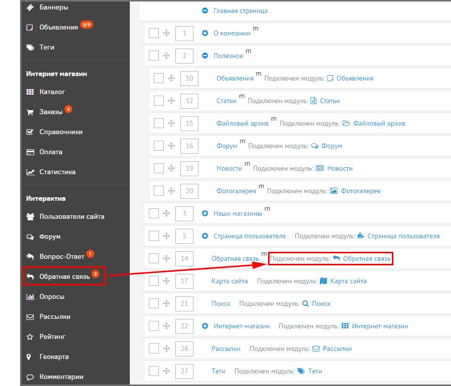 Модули на страницах сайта